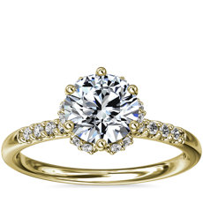 Petite Micropavé and Hidden Diamond Halo Engagement Ring in 14k Yellow Gold (1/8 ct. tw.)
