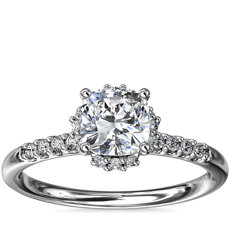 Petite Micropavé and Hidden Diamond Halo Engagement Ring in Platinum (1/8 ct. tw.)