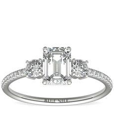 Petite Micropavé Trio Diamond Engagement Ring in Platinum