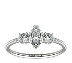 Petite Micropavé Trio Diamond Engagement Ring in 14k White Gold (1/5 ct. tw.)