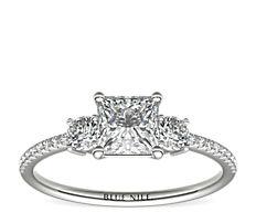 Petite Micropavé Trio Diamond Engagement Ring in 14k White Gold