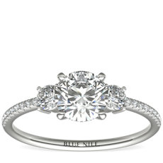 Petite Micropavé Trio Diamond Engagement Ring in 14k White Gold