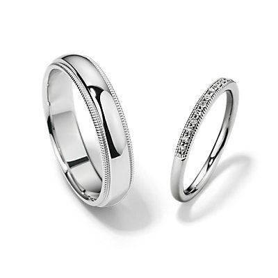 Petite Milgrain Diamond and Milgrain Comfort Fit Set in 14k White Gold