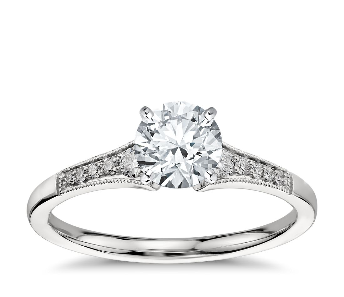Graduated Milgrain Diamond Engagement Ring in Platinum (1 ...