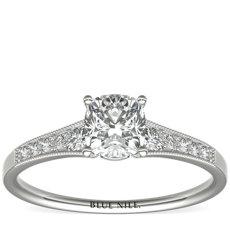 Bague de fiançailles diamant millegrain dégradé en platine (0,10carat, poids total)