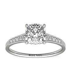 Bague de fiançailles diamant millegrain dégradé en or blanc 14carats (0,10carat, poids total)
