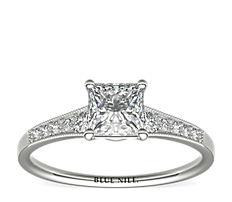 14k 白金漸變鋸狀鑽石訂婚戒指(1/10 克拉總重量)