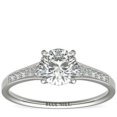 Graduated Milgrain Diamond Engagement Ring in 14k White Gold (0.10 ct. tw.)