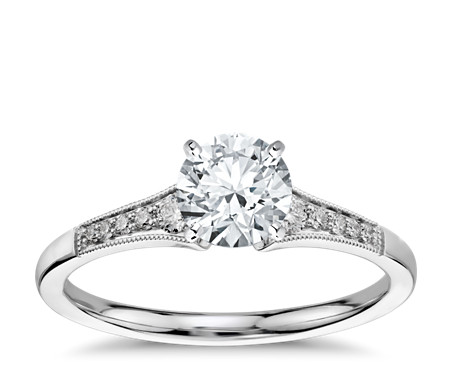 Graduated Milgrain Diamond Engagement Ring in 14k White Gold (1/10 ct. tw.)