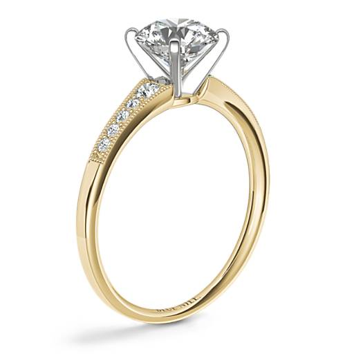 Graduated Milgrain Diamond Engagement Ring