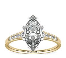 14k 金渐变锯状钻石订婚戒指<br>(1/10 克拉总重量)