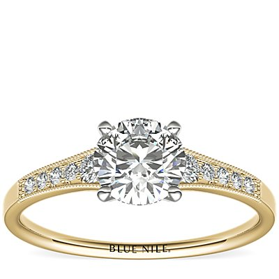 Graduated Milgrain Diamond Engagement Ring in 14k Yellow Gold (0.10 ct. tw.)