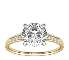 Graduated Milgrain Diamond Engagement Ring in 14k Yellow Gold (0.10 ct. tw.)