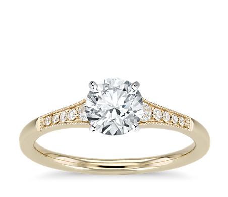 Graduated Milgrain Diamond Engagement Ring in 14k Yellow Gold (1/10 ct. tw.)