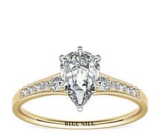 Bague de fiançailles diamant millegrain dégradé en or jaune 14carats (0,10carat, poids total)