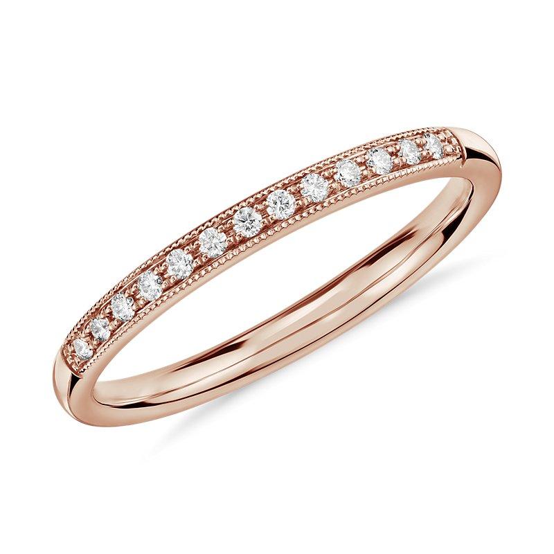 Petite Milgrain Diamond Ring in 14k Rose Gold