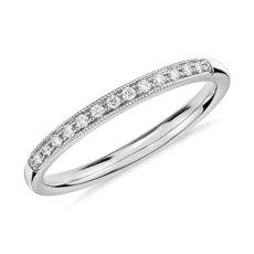 Petite Milgrain Diamond Ring in 14k White Gold