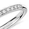 Petite Milgrain Diamond Ring in 14k White Gold
