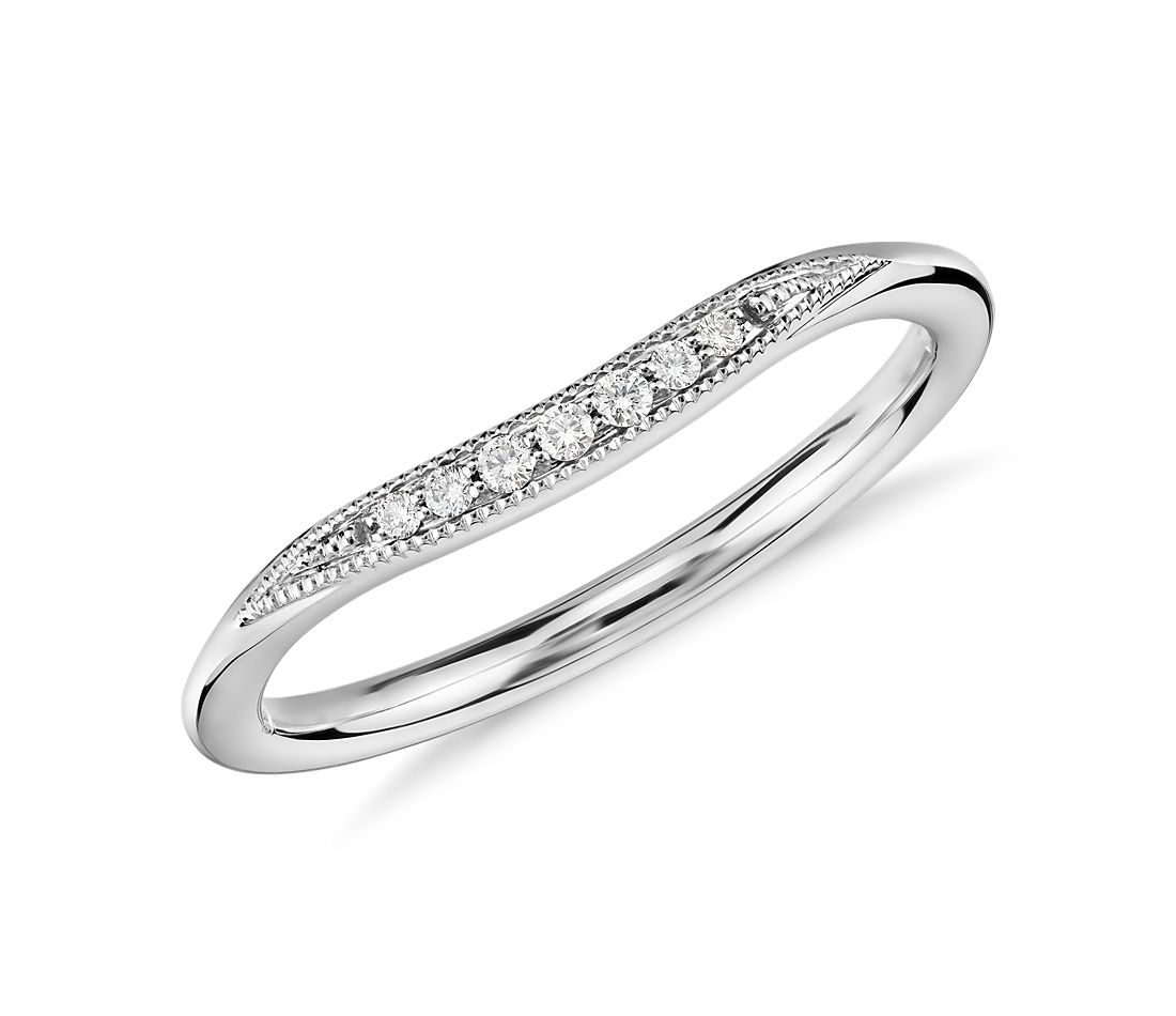 Petite Milgrain Curved Diamond Ring in 14k White Gold