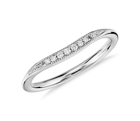 Bague en diamant incurvée millegrain de petite taille en or blanc 14carats