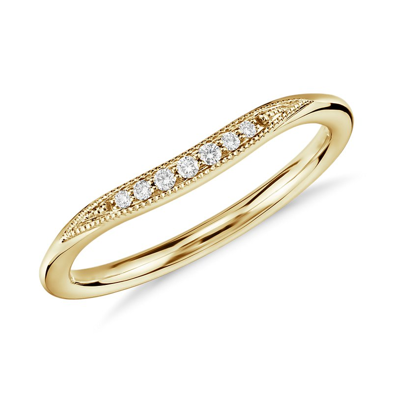 Petite Milgrain Curved Diamond Ring in 14k Yellow Gold