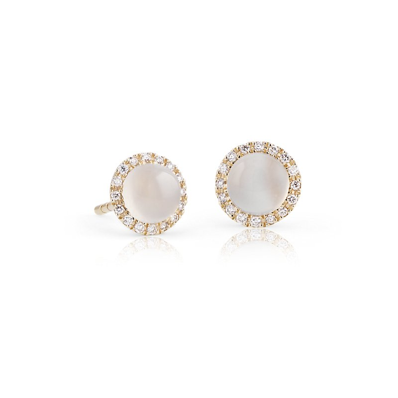 Petite White Moonstone Cabochon Earrings with Diamond Halo in 14k