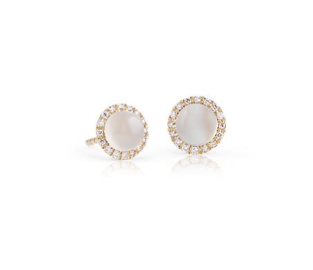 14k 黃金 小巧白色月長石磨光凸圓形寶石搭鑽石光環耳環<br>( 5毫米)