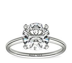 鉑金新藝術款式四爪單石訂婚戒指