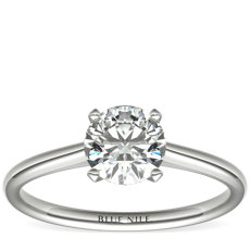 NEW Petite Nouveau Four Claw Solitaire Engagement Ring in Platinum