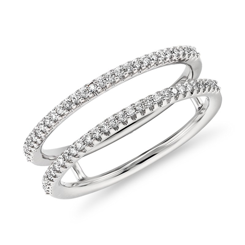 Delicate Open Shank Diamond Fashion Ring in 14k White Gold (1/5 c