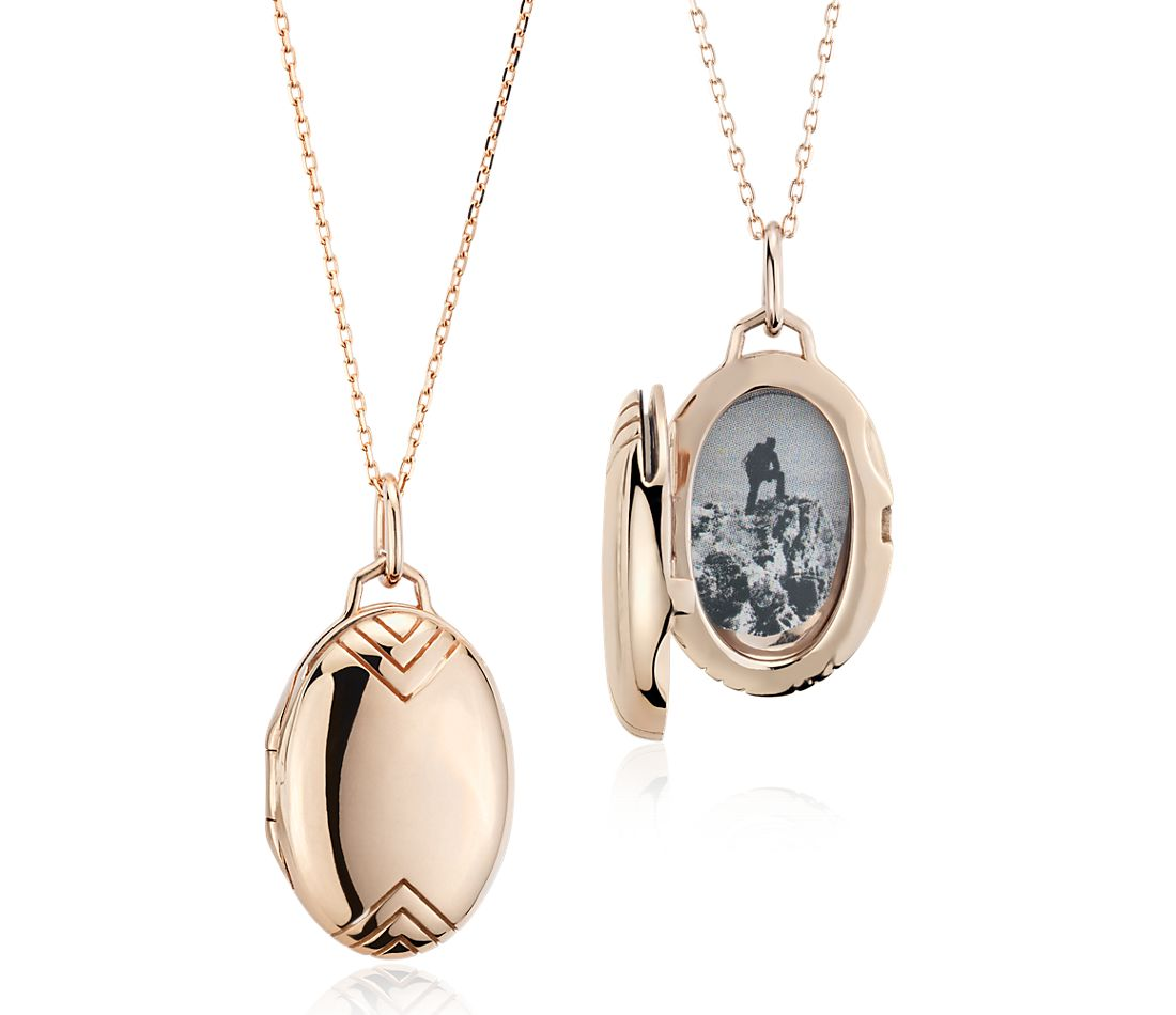 Monica Rich Kosann Petite Oval Locket With Chevron Detail
