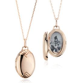 Monica Rich Kosann Petite Oval Locket with Chevron Detail in 18k Rose Gold