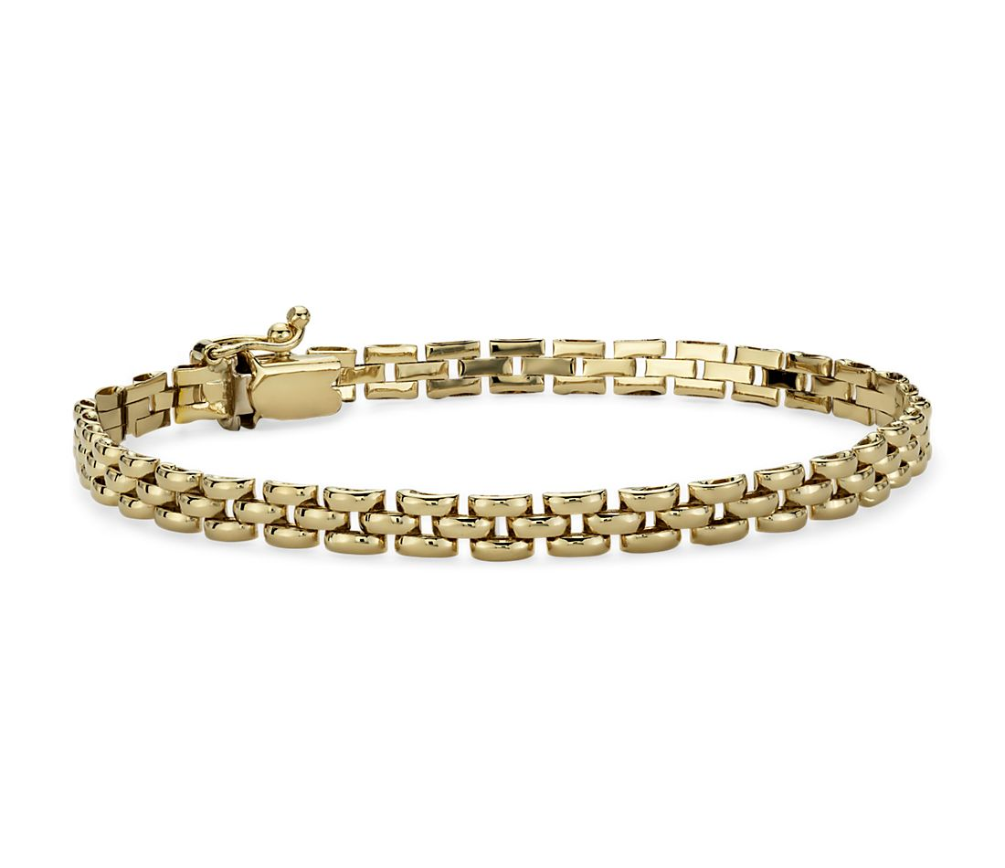 Gold Jewelry Bracelets: Petite Panther Bracelet In 14k Yellow Gold