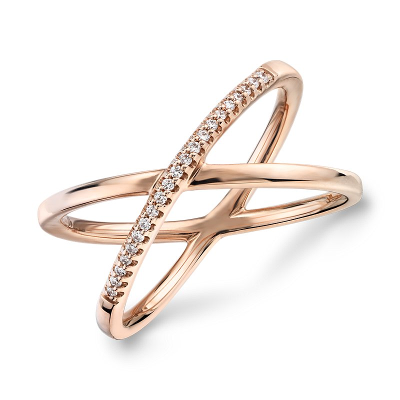 Delicate Pavé Diamond Crossover Fashion Ring in 14k Rose G