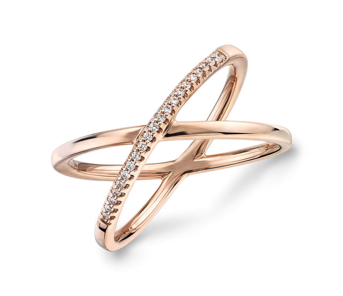 Delicate Pavé Diamond Crossover Fashion Ring in 14k Rose Gold