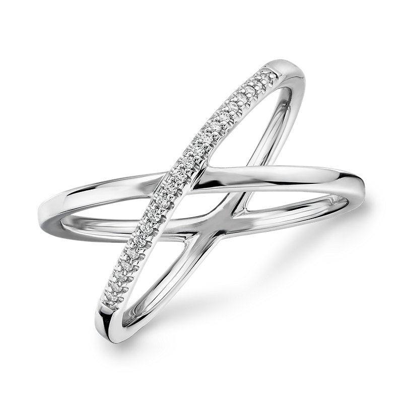 Delicate Pavé Diamond Crossover Fashion Ring in 14k White