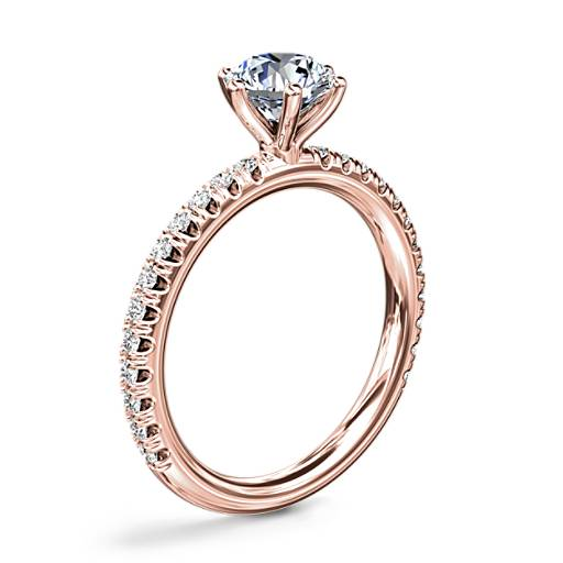 NEW Six-Prong 小巧密钉钻石订婚戒指