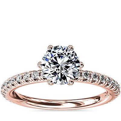 Six-Claw Petite Pavé Diamond Engagement Ring in 14k Rose Gold (1/4 ct. tw.)
