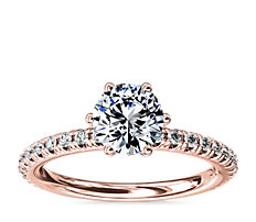 NEW Six-Prong Petite Pavé Diamond Engagement Ring in 14k Rose Gold (1/4 ct. tw.)