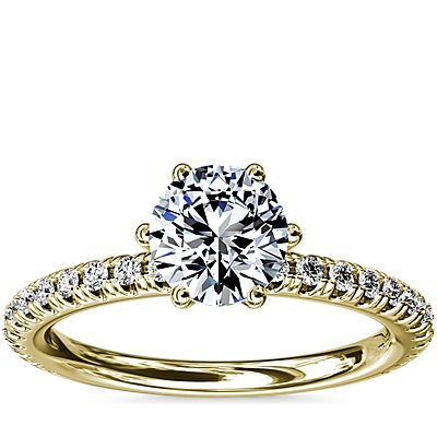NEW Six-Claw Petite Pavé Diamond Engagement Ring in 14k Yellow Gold (1/4 ct. tw.)