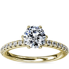 Six-Prong Petite Pavé Diamond Engagement Ring in 14k Yellow Gold (1/4 ct. tw.)