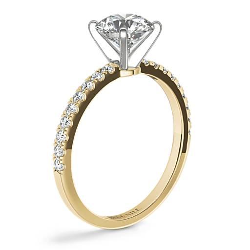 Anillo de compromiso estilo pequeño pavé de diamantes