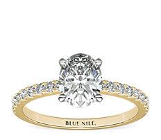 Petite Pavé Diamond Engagement Ring in 18k Yellow Gold (0.23 ct. tw.)