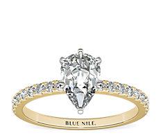 18k 金小巧密钉钻石订婚戒指(1/4 克拉总重量)