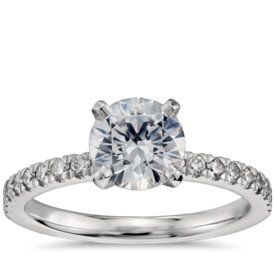1 Carat Preset Petite Pavé Diamond Engagement Ring in Platinum
