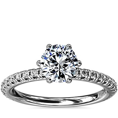 NEW Six-Prong Petite Pavé Diamond Engagement Ring in Platinum (1/4 ct. tw.)