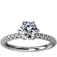 Six-Claw Petite Pavé Diamond Engagement Ring in Platinum (1/4 ct. tw.)