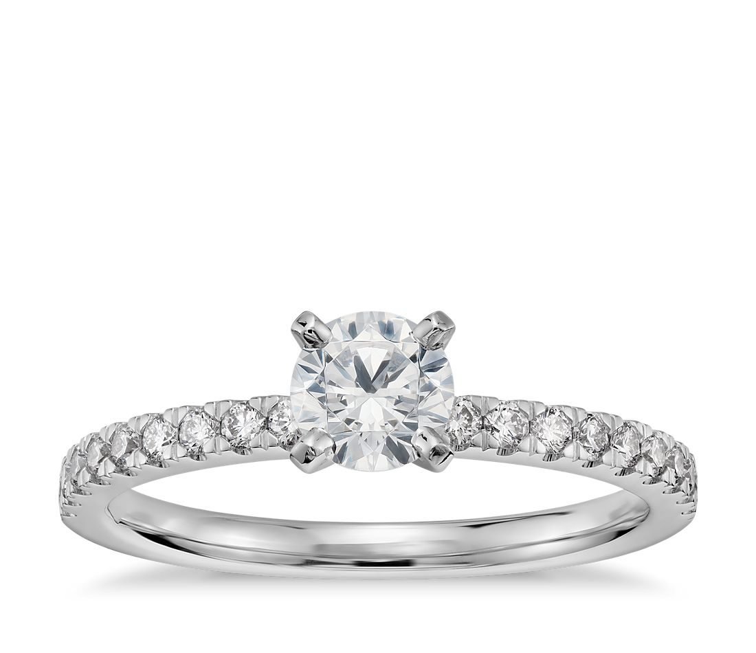 1/2 Carat Preset Petite Pavé Diamond Engagement Ring in 14k White Gold