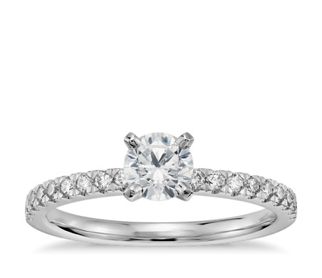 1/3 Carat Preset Petite Pavé Diamond Engagement Ring in 14k White Gold