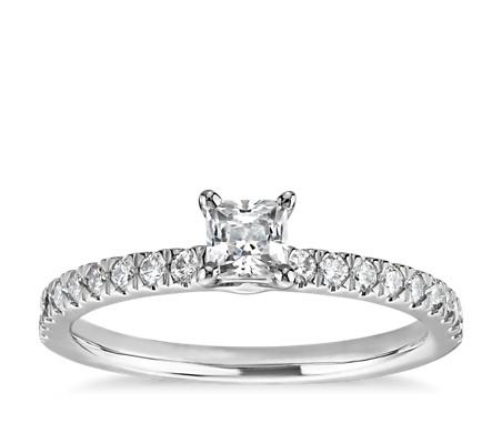 Bague de fiançailles pré-sertie avec diamants taille princesse sertis pavé de petite taille 1/3carat en or blanc 14carats